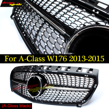 W176 Diamant Front Grille For Mercedes Benz A180 A200 A250 grilles Car Styling ABS gloss black Auto Grill 2013-2015