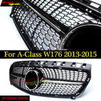 W176 Diamant Front Grille For Mercedes Benz A180 A200 A250 grilles Car Styling ABS gloss black Auto Front Grill Grille 2013-2015