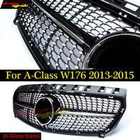W176 Diamant Grille For Mercedes Benz A180 A200 A250 grilles Car Styling ABS gloss black Auto Front Grill Grille 2013 2015