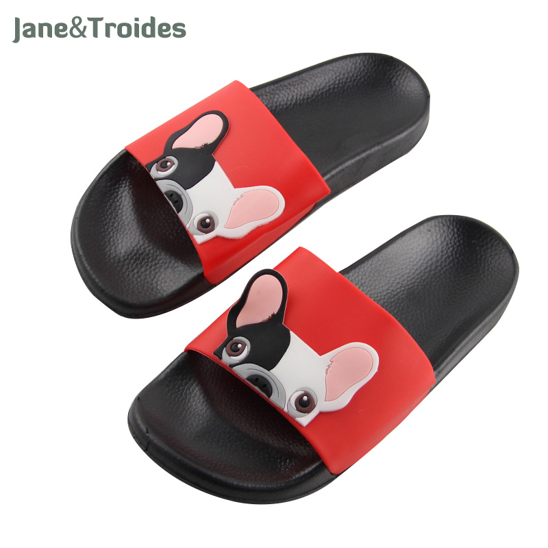 Jane&Troides Summer Pvc Slippers For Women Open Toe Cartoon Cute Bulldog Print Anti Slip Flip Flops Fashion Indoor Woman Shoes wholesale 5 woman foam open toe backless flip flops shoes slippers 1 pair