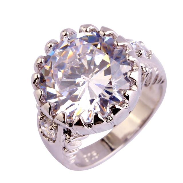 Lingmei moda artesanal jóias banhado rodada branco cz mulheres anel de prata tamanho 6 7 8 9 10 atacado frete grátis