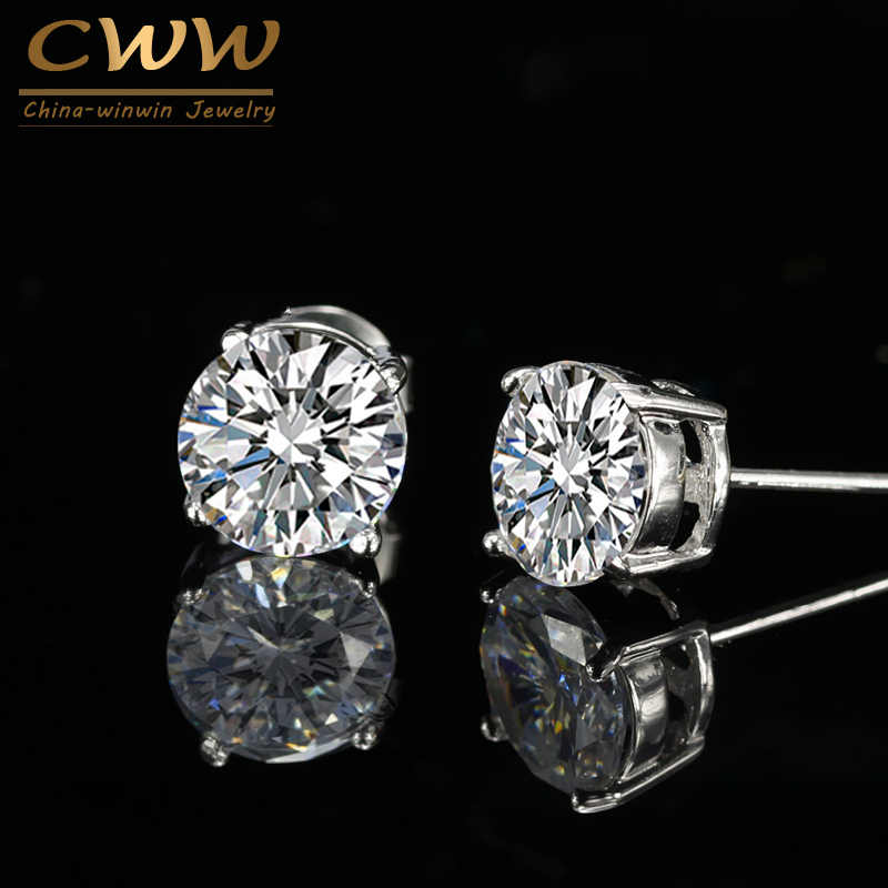 9079c093e CWWZircons 7 Color Options Brincos Brand Fashion 8mm Round Cubic Zirconia  Crystal Unisex Stud Earrings For