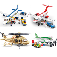 1pcs Sluban Military Helicopter Airbus Airplane Building Bricks Blocks Set Toy Compatible Lepine City Airport Planes