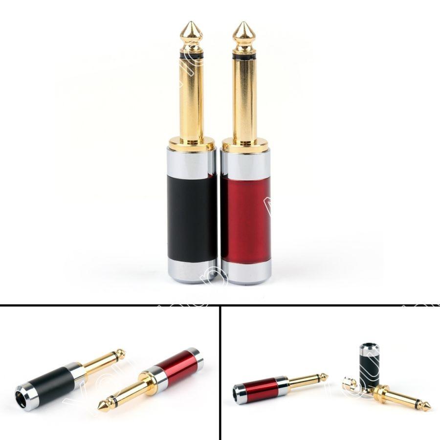 ФОТО Sale 20Pcs Rhodium Plated Carbon Fiber Body Gold Plated 6.35mm Mono Male Plug MIC Jack Mini Plugjack