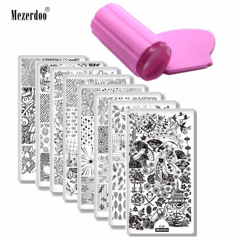 8 pcs Nail Stamping Plaques + 1 Stamper + 1 Grattoir Fleur Plume Geisha Motif Nail Art Stamp Stamping modèle image Plaques