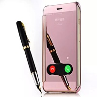 Hot Vogue Flip Mirror Window PU Leather PC Case For Iphone6 6G Luxury Protective Sleeve