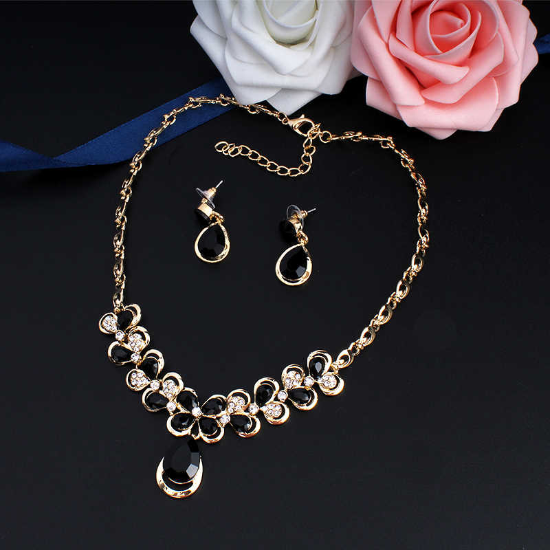 Jiayijiaduo Indischen Schmuck-Set für Frauen Hochzeit Schmuck-Set Kristall Blume Halskette Ohrringe Set neue dropshipping