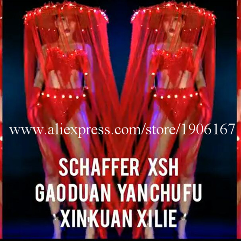 Nightclub GOGO female models Chinese style LED lights tassels red big hats Mid-Autumn National Day theme costumes1