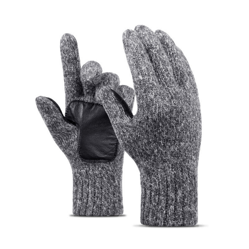 Winter Women Men Thickened Gloves Knitted Pure Color Warm Five Fingers Gloves