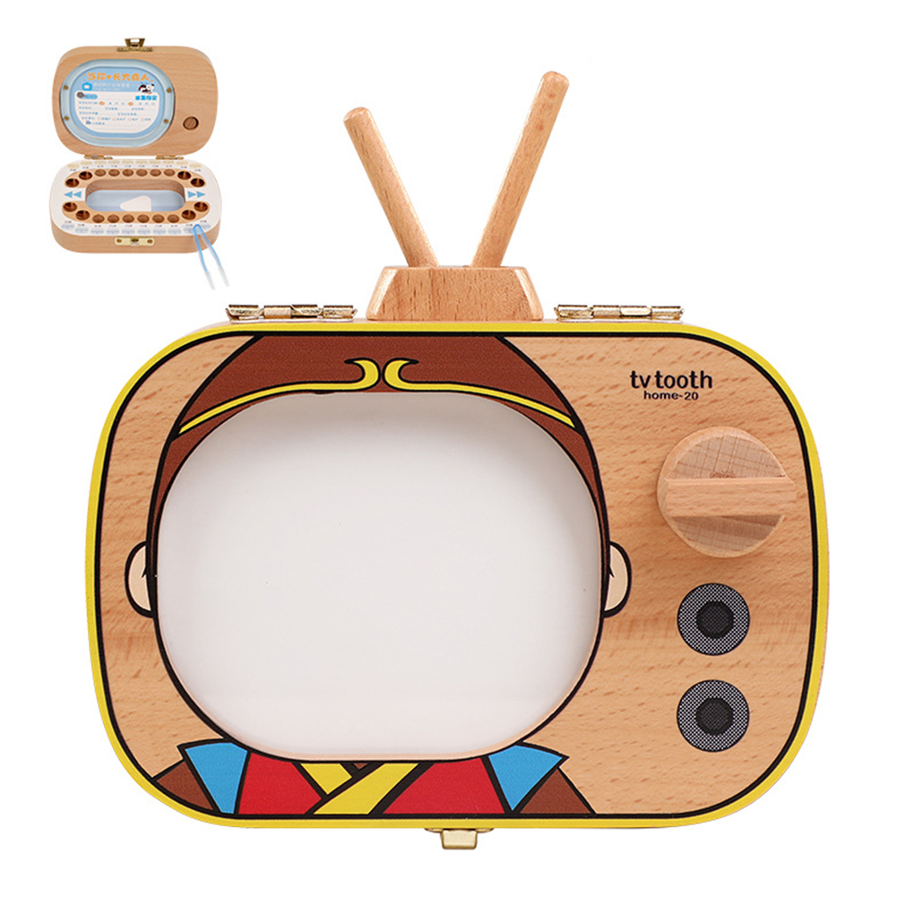 Baby Tooth Keepsake Box Wooden Teeth Box TV Shaped Tooth Keepsake Box Announcements Collecting Gift
