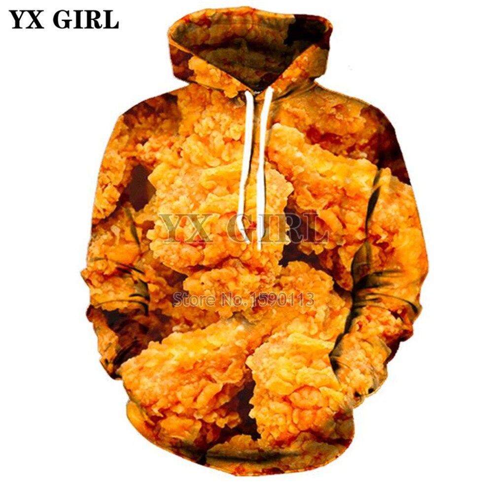 YX RAGAZZA 2018 Nuovi hoodies di Modo Degli Uomini Delle Donne felpa Con Cappuccio cosce di pollo fritto Cibo di Stampa 3d Con Cappuccio casual Supera il trasporto di Goccia libero