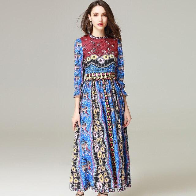d8db0b42c13 High-quality 2018 new designer fashion runway Maxi dress Women long sleeve  Pattern printing Chiffon