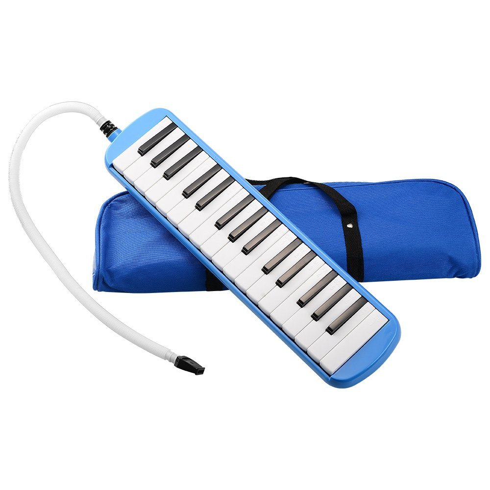 32 Keys Melodica Set Children Musical Instrument Beginner Keyboard Case 2 Colors Harmonica + Bag + Blowpipe Mouth Organ