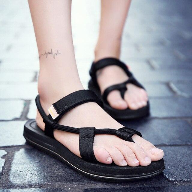 Męskie sandały 2019 mężczyźni czarny plaża sandały wysokiej jakości Unisex płaskie letnie buty sandalias para hombre rozmiar 45 46