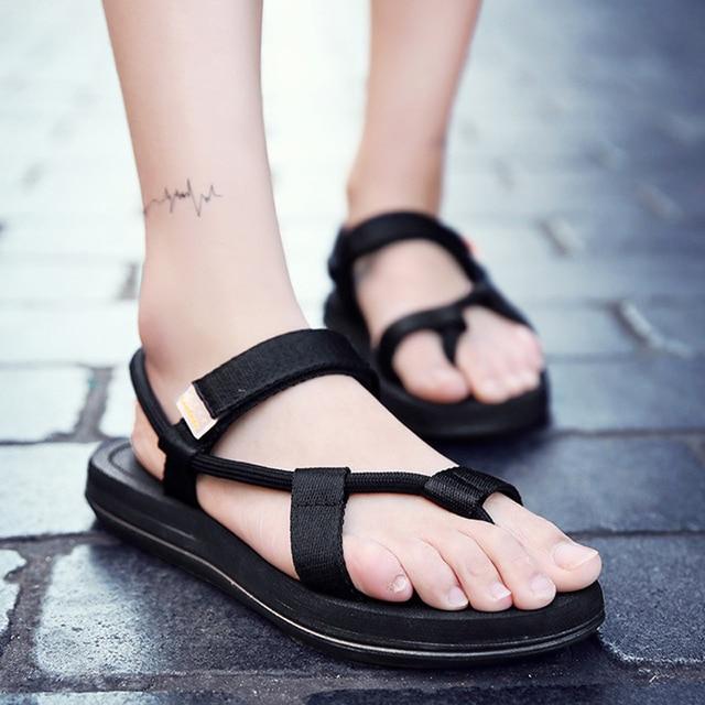 Men sandals 2019 Men Black Beach Sandals high quality Unisex flat summer shoes sandalias para hombre Size 45 46