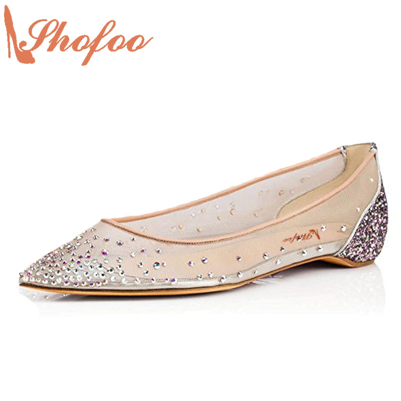 ФОТО Shofoo Mother Genuine Leather Lace Ballet Flats Crystal Rhinestones Mesh Transparent Handmade Shoes Woman,Large Size 4-16