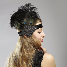 Women's vintage peacock feather headband sequin headwear Flapper Costume Great Gatsby Accessory Wedding Party Clubwear Headpiece(China)