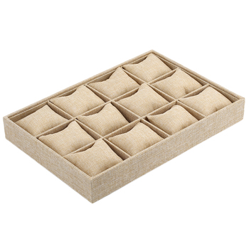 12 Grids Watch Display Case Bracelet Jewelry Holder Container Box with Pillow Style Thick Hemp pillow style jewelry watch bracelet display tray box necklace earring container boxes case jewelry organizer gift