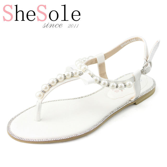 2869271c260696 White wedding flat sandals bridal pearl shoes women flip flops diamond  rhinestone pu leather beach beaded sandle Brand SheSole