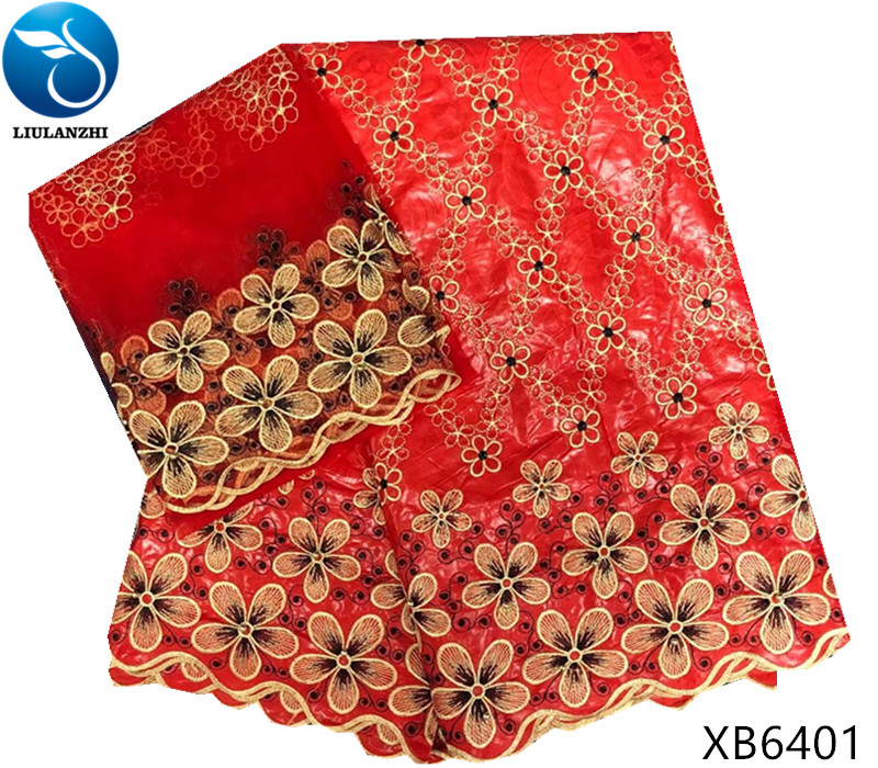 LIULANZHI Red african lace fabrics Fashion embroidery bazin riche getzner with beads nigerian bazin lace fabric