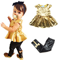 New Girls Set Kids Clothes 2 Pcs Short Sleeve Golden Horn Unlined Upper Garment Of Leisure Suit Party Children Clothes 3~6 T