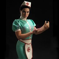 Hospital Uniform Latex Rubber Wearing Cap Dress Apron