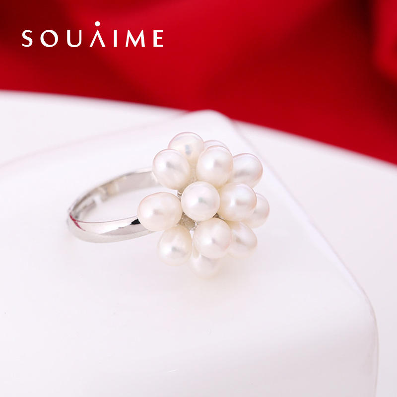 SOUAIME Natural Freshwater Pearl Ring Glare Multi Beads Beads Flower Rings Handmade Pearl Rings WholesaleSOUAIME Natural Freshwater Pearl Ring Glare Multi Beads Beads Flower Rings Handmade Pearl Rings Wholesale