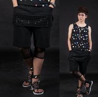 Black Loose Show Clothes Street Rivets Stitching Mens Short Pants Men Hot Pants Mens Outdoors Baggy