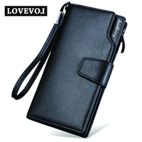 Top Quality Leather Wallet Fashion Casual Long Design Mens Bag Double Zipper Multi Function Hand Bag