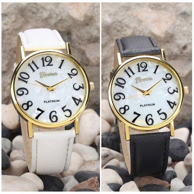 Fashion Casual Fabulous Hour For Ladies Geneva Women White&Black Retro Dial Leather Band Quartz Analog Wrist Watch Reloj Mujer