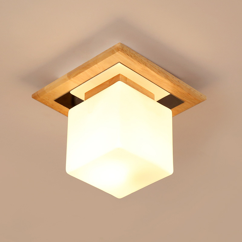 Single head wood ceiling entrance corridor balcony bedroom loft cloakroom square log glass Japanese lights lacywear br 6 trk