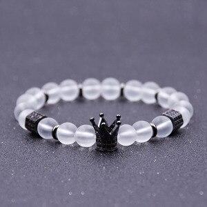 HYHONEY натуральный камень белый матовый бисер микро проложить CZ очаровательный браслет с короной для женщин браслеты и браслеты для йоги мужс...
