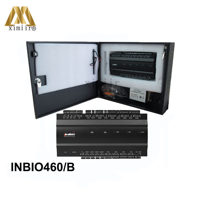 ZK inbio460 4 Doors Access Control Panel With Battery Function Power Supply Fingerprint And RFID Card Door Access Control System zk ma500 tcp ip metal case fingerprint and rfid card door access control system diy biometric fingerprint door security control