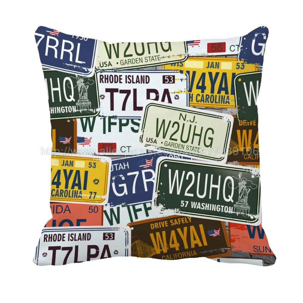 USA Style License Plate Print Personalised Custom Vintage Sofa Cushions Throw Pillows Cojines decorative pillows