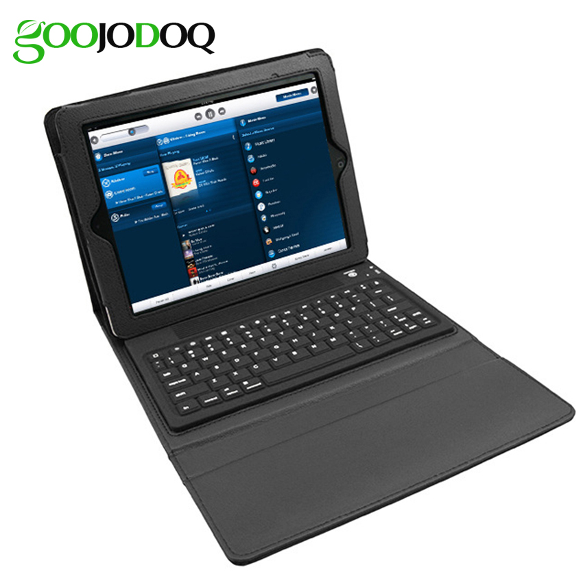 GOOJODOQ PU Leather Case For iPad 2 3 4 iPad Mini 1 2 3 with Wireless Bluetooth Keyboard Stand Ultra Slim Foldable Cover Holder foldable pu leather pad cover with flower girl driving style inlaid diamond support stand for ipad mini 3