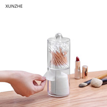 XUNZHE New 7*19CM Double layer Clear Acrylic Storage Box Holder Transparent Cotton Swabs Stick Cosmetic Makeup Organizer Case