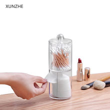 XUNZHE New 7*19CM Double layer Clear Acrylic Storage Box Holder Transparent Cotton Swabs Stick Cosmetic Makeup Organizer Case(China)