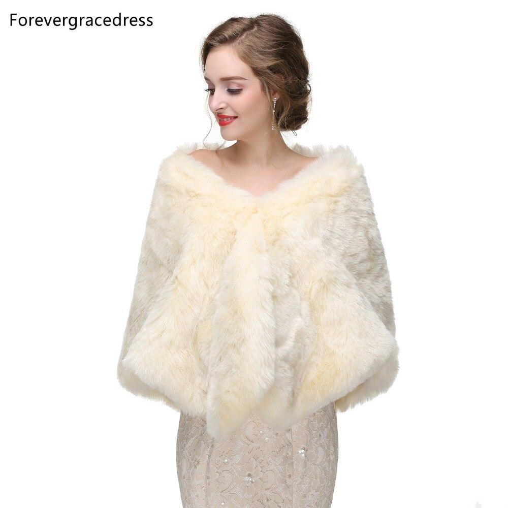 Forevergracedress 2019 Elegant Soft Autumn Winter Faux Fur Bride Wedding Wraps Bolero Jackets Bridal Coats Shawls Scarves PJ415