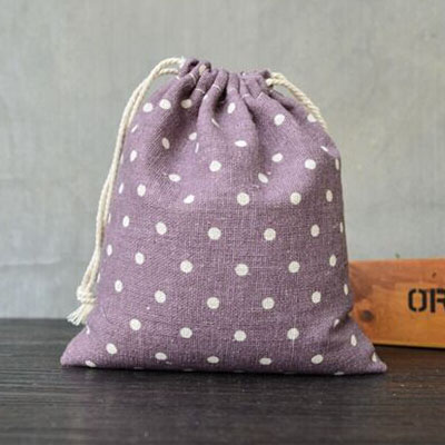 Purple Dot Linen Packaging Bag 8x10cm 9x12cm 10x15cm 13x17cm Pack Of 50 Party Candy Sack Makeup Jewelry Gift Drawstring Pouch