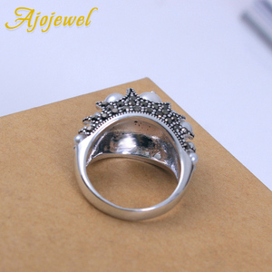 Женское Винтажное кольцо с искусственным жемчугом, брендовый Размер 7-9, новые элегантные черные стразы Anel