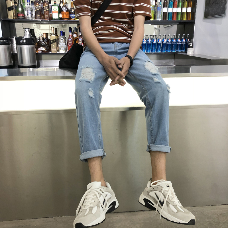 2018 Korean Style Mens Fashion Trend Blue Holes Beggar Cowboy Casual Pants Stretch Slim Fit Homme Jeans Denim Trousers 27-36