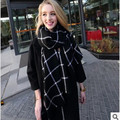 Black and white plaid scarves Autumn and winter women fashion warm shawl scarf