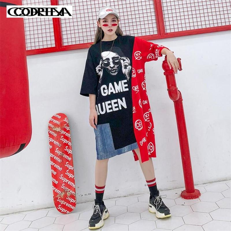 Caractère lettre imprimer irrégulière Femelle T-shirt Harajuku Lâche long T-Shirts robe pour femmes 2019 D'été décontracté Denim couture hauts