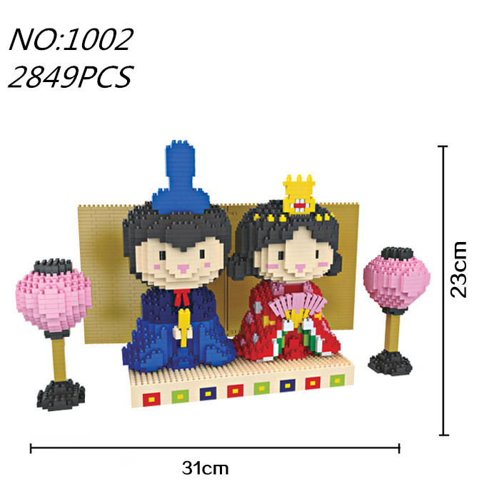 Alen New Promotion Plastic Romantic Present Gift For Friends And Family Cute Dolls in kimonos Micro Diamond Building Blocks Toy