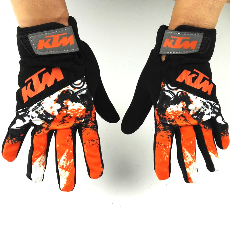 Free Via AE Shipping KTM Motorcycle Gloves Retro Kawasaki Motor Racing Gloves Men's Motocross Full Finger Gloves Size M/L/XL/XXL