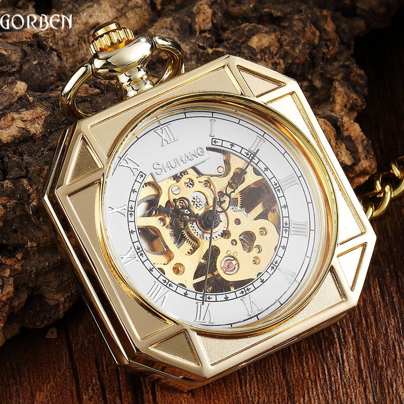Luxury Golden Square Design Mechanical Pocket Watch With FOB Chain Sculpture Skeleton Steampunk Hand Wind Mechanical Mens Watch