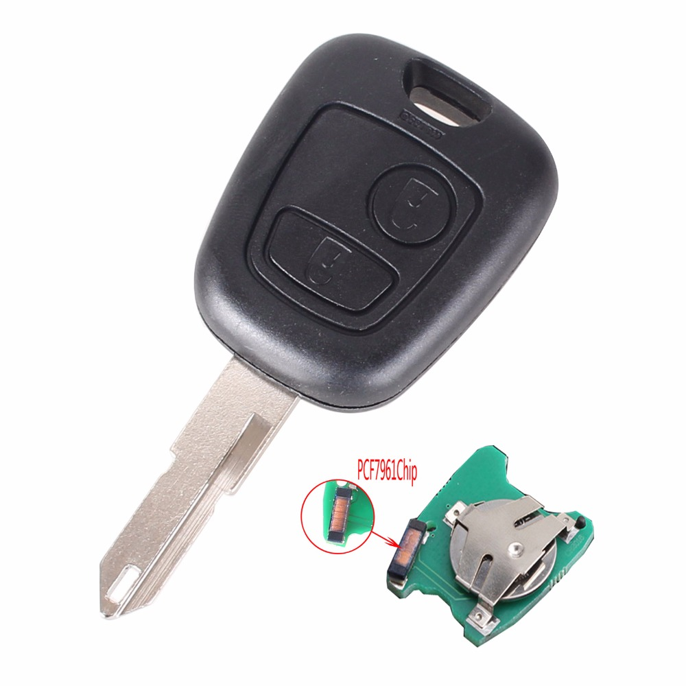 keyyou 2 buttons remote car key for peugeot 206 306 405. Black Bedroom Furniture Sets. Home Design Ideas