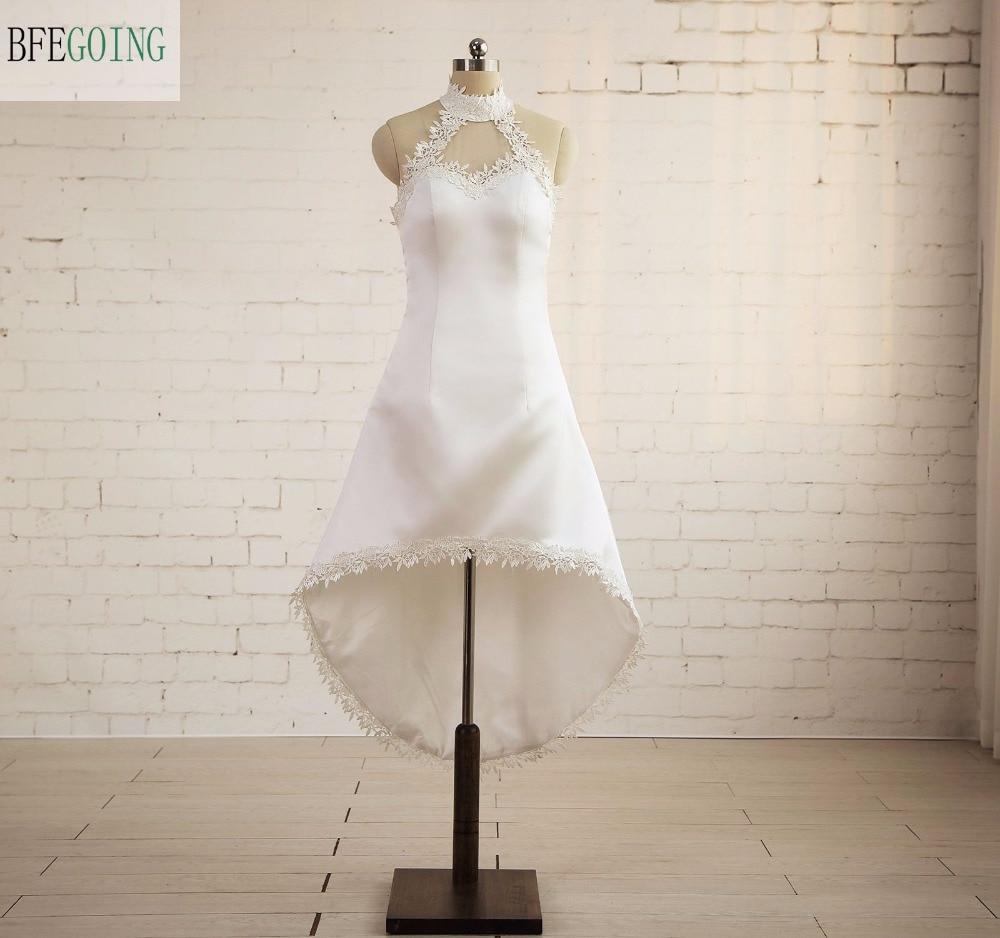 Ivory Satin Sleeveless Tea-Length Formal Party   Cocktail     Dress   High Neck Real/Original Photos Custom made