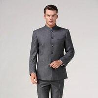 Китайский костюм туника (куртка + штаны), мужской деловой костюм с воротником стойкой, китайский стиль, костюм Тан, традиционный Мандариновы