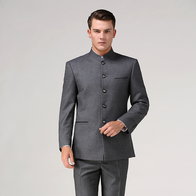 3e909a4573 Chinese tunic suit set (Jacket+Pant) stand collar male Formal suit Chinese  style